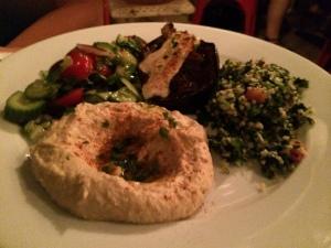 hummus, tabouli, eggplan, israeli salad, cafe mogador nyc